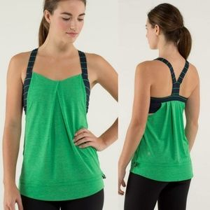 LULULEMON Green Navy Restless Athletic Tank Top